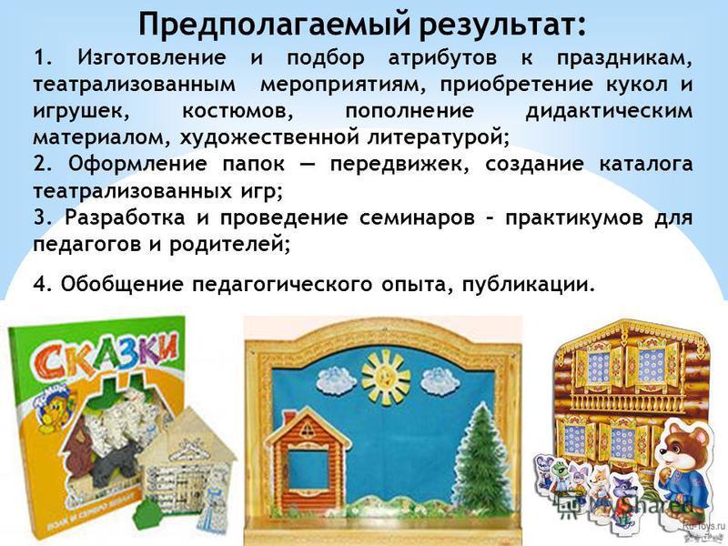 Предполагаемый результат: 1. Изготовление и подбор атрибутов к праздникам, театрализованным мероприятиям, приобретение кукол и игрушек, костюмов, пополнение дидактическим материалом, художественной литературой; 2. Оформление папок передвижек, создани