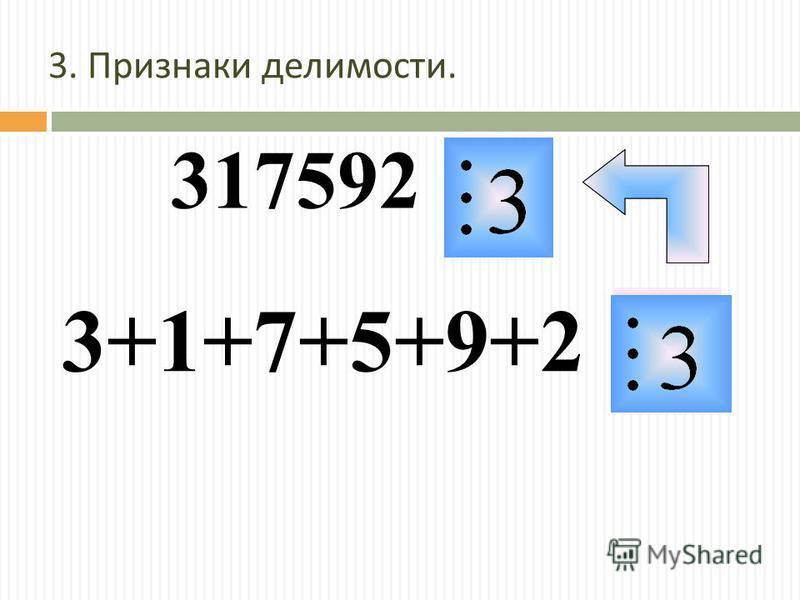 3. Признаки делимости. 317592 3+1+7+5+9+2