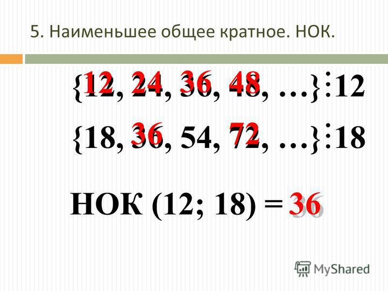 5. Наименьшее общее кратное. НОК. {12, 24, 36, 48, …} 12 {18, 36, 54, 72, …} 18 3636 3636 3636 3636 НОК (12; 18) = 122448 72