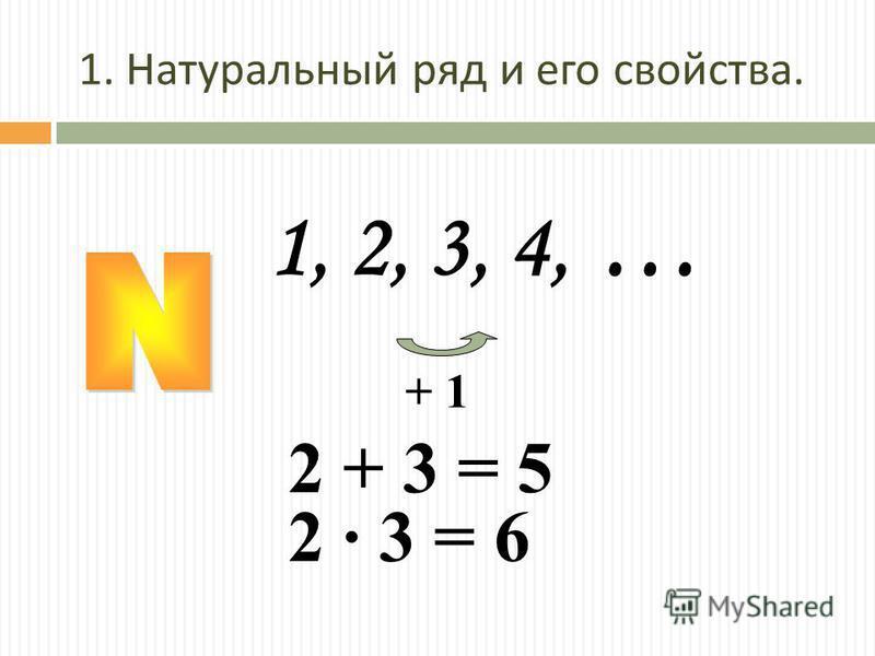 1, 2, 3, 4, … + 1 2 + 3 = 5 2 · 3 = 6 1. Натуральный ряд и его свойства.