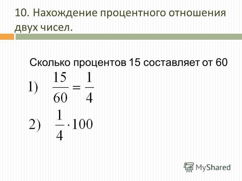 10. Нахождение процентного отношения двух чисел. Сколько процентов 15 составляет от 60