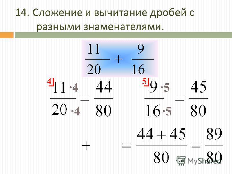 14. Сложение и вычитание дробей с разными знаменателями. 4 5 ·4·4 ·4·4·5·5 ·5·5 +