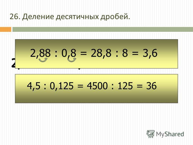 2, 16 : 4 = 0, 54 2,88 : 0,8 = 28,8 : 8 = 3,6 4,5 : 0,125 = 4500 : 125 = 36 26. Деление десятичных дробей.