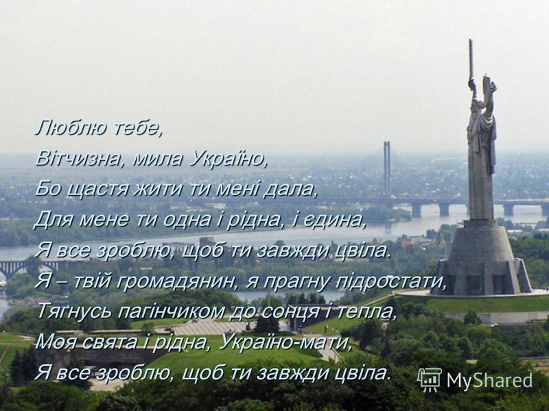 Люблю тебе, Вітчизна, мила Україно, Бо щастя жити ти мені дала, Для мене ти одна і рідна, і єдина, Я все зроблю, щоб ти завжди цвіла. Я – твій громадянин, я прагну підростати, Тягнусь пагінчиком до сонця і тепла, Моя свята і рідна, Україно-мати, Я вс