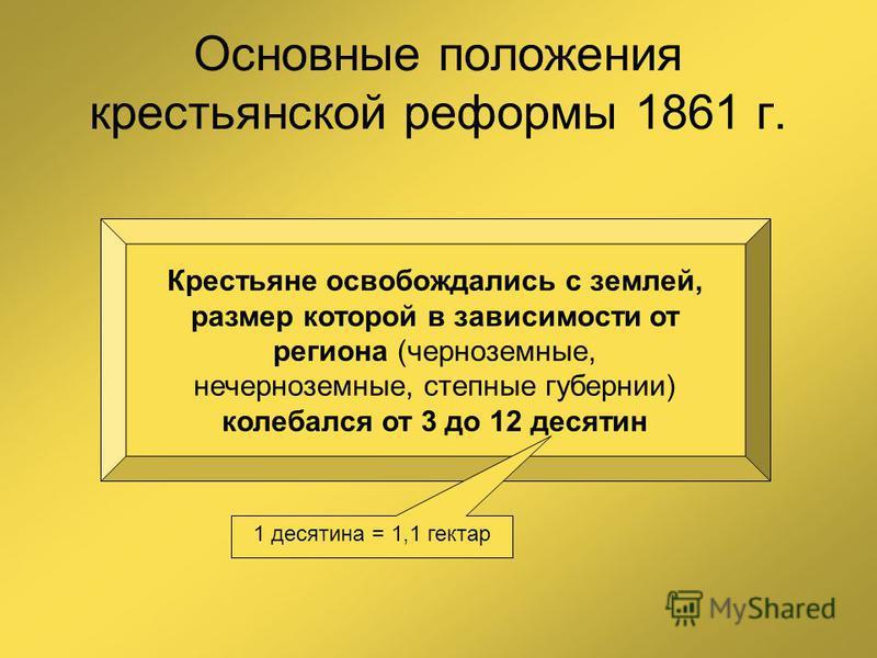 Основные положения крестьянской реформы 1861 г. Крестьяне освобождались с землей, размер которой в зависимости от региона (черноземные, нечерноземные, степные губернии) колебался от 3 до 12 десятин 1 десятина = 1,1 гектар