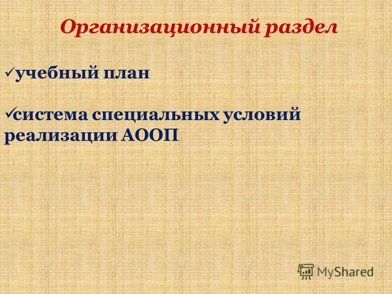 Организационный раздел учебный план система специальных условий реализации АООП