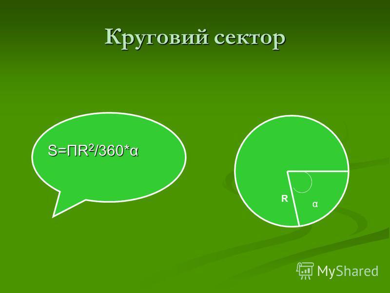 Сегмент кола S =ПR 2 /360*α±S S =ПR 2 /360*α±S α R