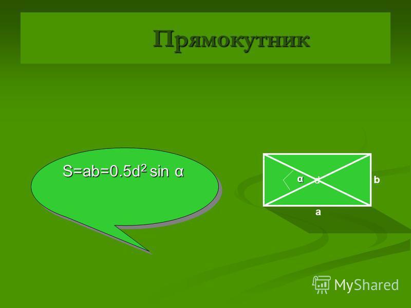 Квадрат Квадрат d S=a 2 =0.5d 2 a a