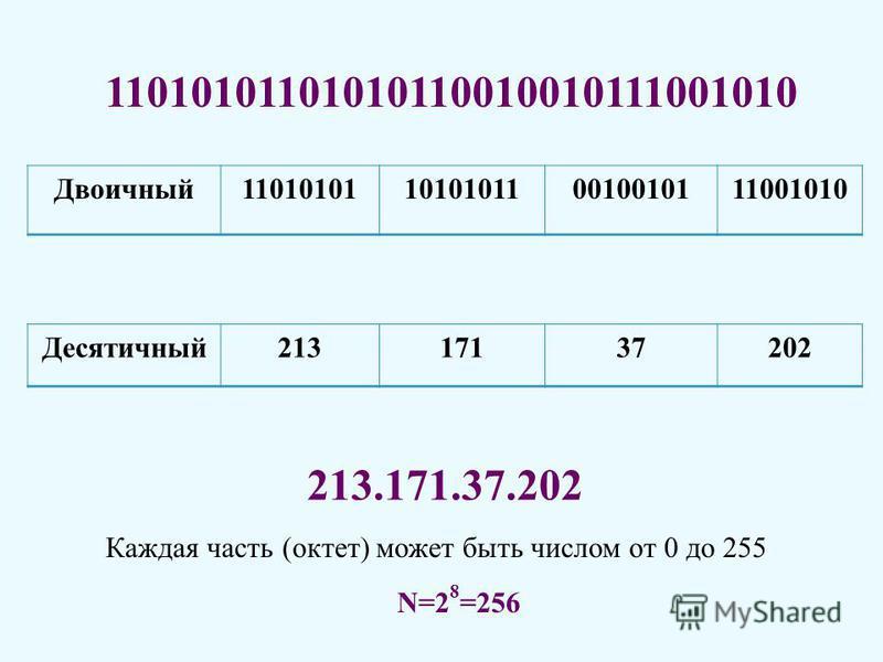 11010101101010110010010111001010 Двоичный 11010101101010110010010111001010 Каждая часть (октет) может быть числом от 0 до 255 N=2 8 =256 213.171.37.202 Десятичный 21317137202