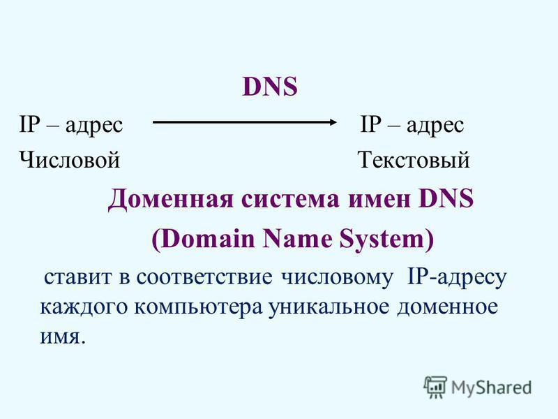 DNS IP – адрес Числовой Текстовый Доменная система имен DNS (Domain Name System) ставит в соответствие числовому IP-адресу каждого компьютера уникальное доменное имя.