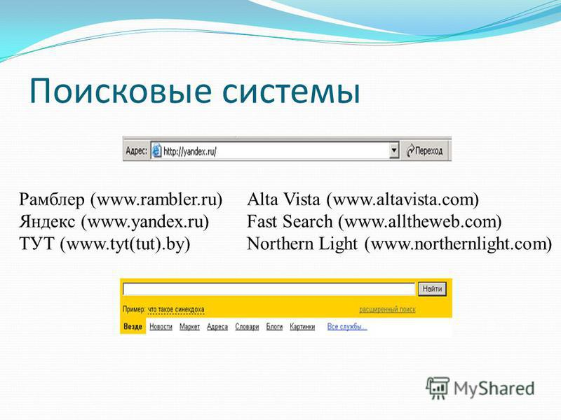 Поисковые системы Рамблер (www.rambler.ru) Яндекс (www.yandex.ru) ТУТ (www.tyt(tut).by) Alta Vista (www.altavista.com) Fast Search (www.alltheweb.com) Northern Light (www.northernlight.com)