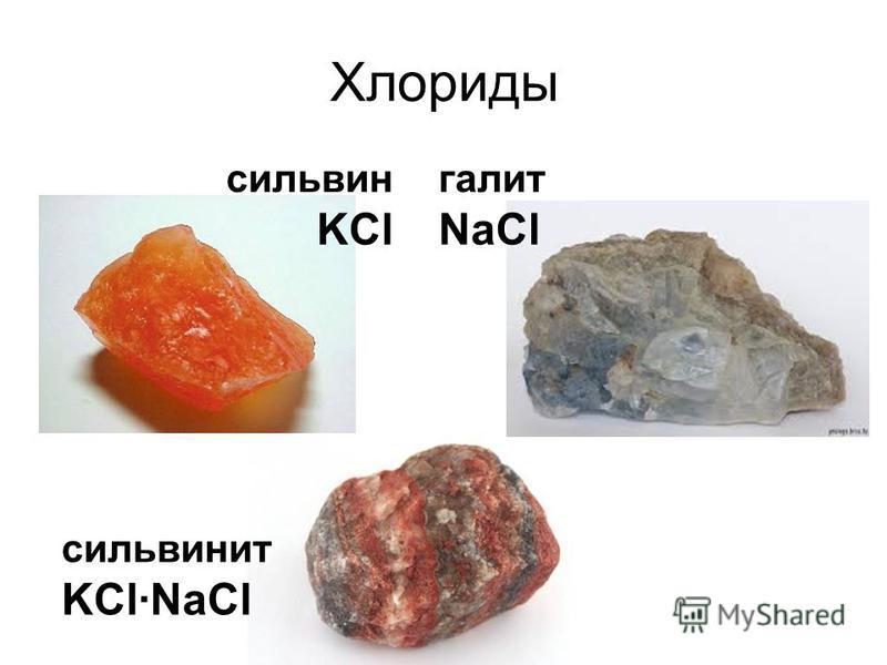 Хлориды сильвинит KCl·NaCl галит NaCl сильвин KCl