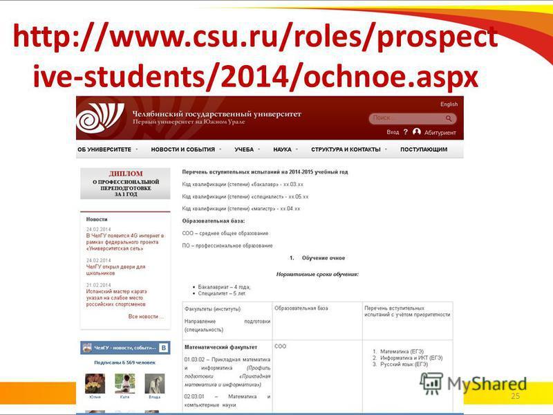 http://www.csu.ru/roles/prospect ive-students/2014/ochnoe.aspx 25