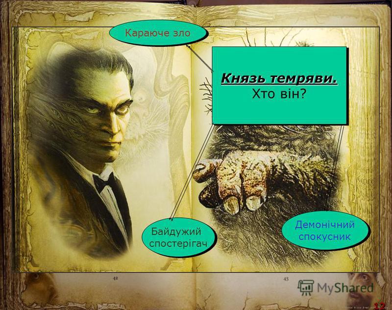 М.Кононов © 2009 E-mail: mvk@univ.kiev.ua 12 Князь темряви. Хто він? Князь темряви. Хто він? Караюче зло Байдужий спостерігач Байдужий спостерігач Демонічний спокусник Демонічний спокусник