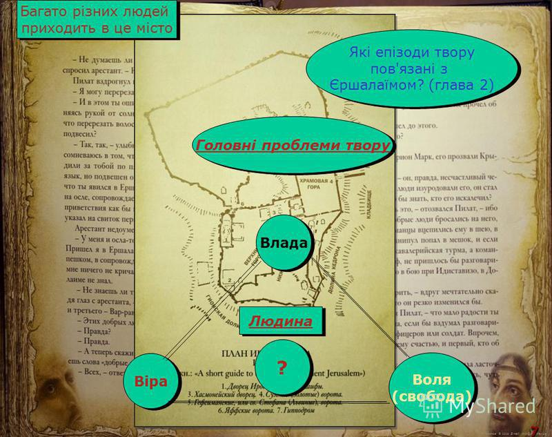 М.Кононов © 2009 E-mail: mvk@univ.kiev.ua 7 7 Багато різних людей приходить в це місто Багато різних людей приходить в це місто Які епізоди твору пов'язані з Єршалаїмом? (глава 2) Які епізоди твору пов'язані з Єршалаїмом? (глава 2) Влада Віра Воля (с