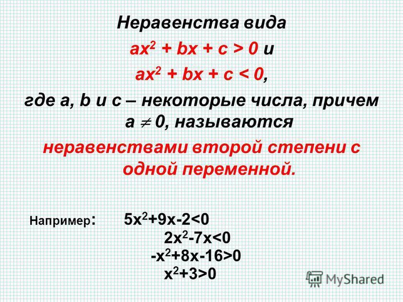 Неравенства вида ах 2 + bx + c > 0 и ах 2 + bx + c < 0, где а, b и с – некоторые числа, причем а 0, называются неравенствами второй степени с одной переменной. Например : 5 х 2 +9 х-2<0 2 х 2 -7 х<0 -х 2 +8 х-16>0 х 2 +3>0