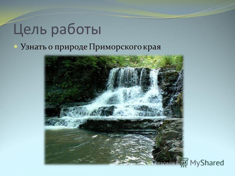 Цель работы Узнать о природе Приморского края