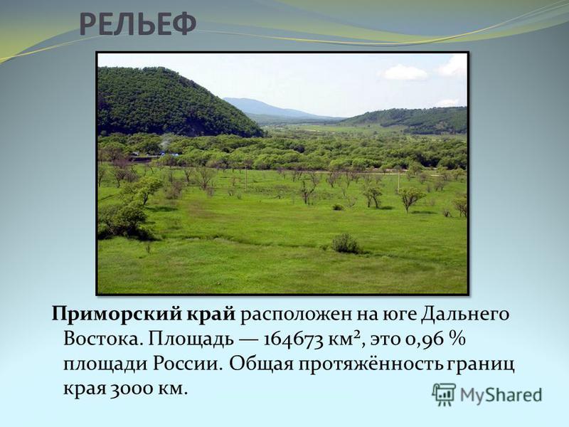 РЕЛЬЕФ Приморский край расположен на юге Дальнего Востока. Площадь 164673 км², это 0,96 % площади России. Общая протяжённость границ края 3000 км.