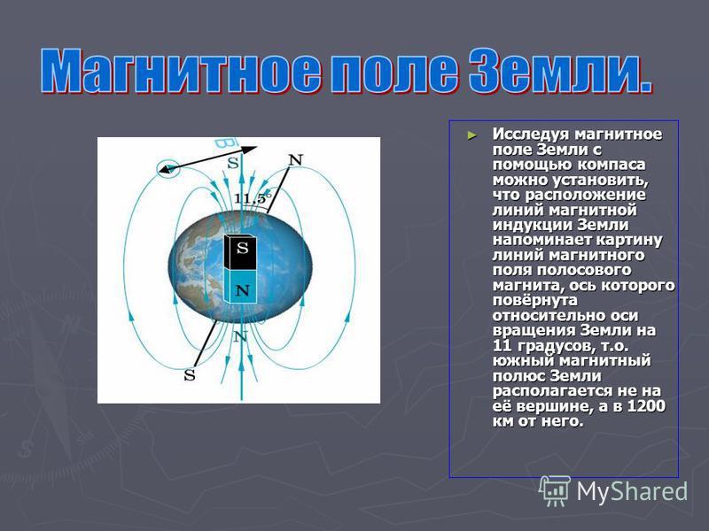 Исследуя магнитное поле Земли с помощью компаса можно установить, что расположение линий магнитной индукции Земли напоминает картину линий магнитного поля полосового магнита, ось которого повёрнута относительно оси вращения Земли на 11 градусов, т.о.