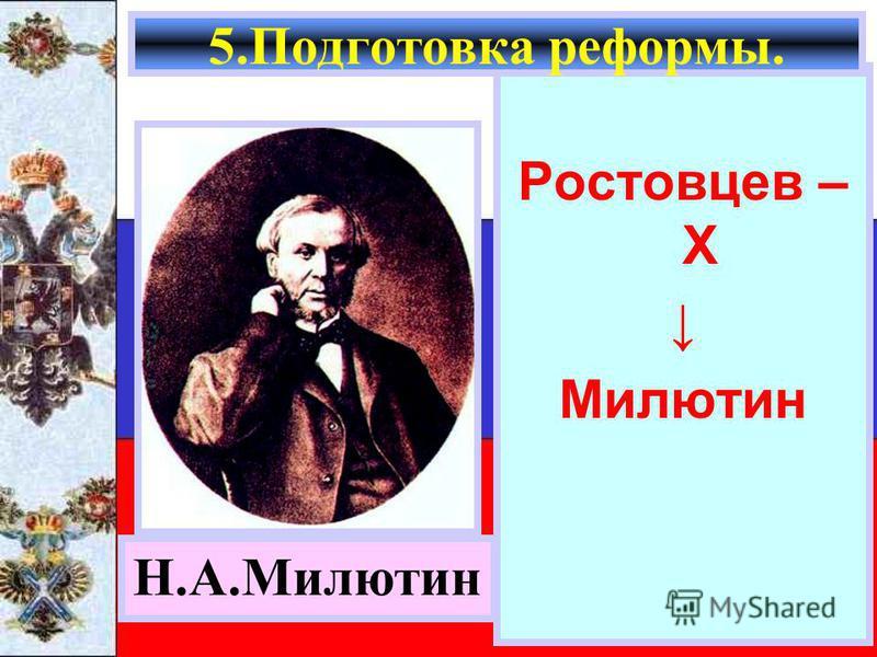 Ростовцев – Х Милютин 5. Подготовка реформы. Н.А.Милютин