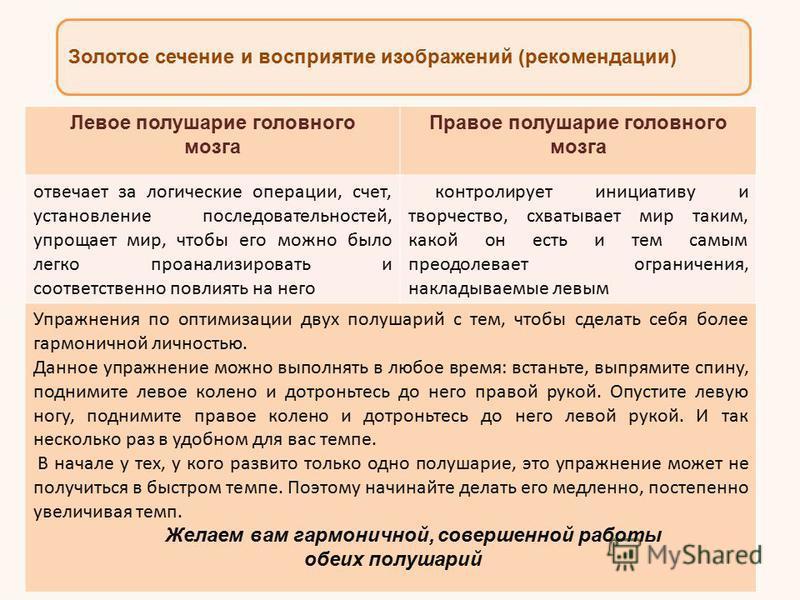 Золотое сечение и восприятие изображений (рекомендации) Доктор Роджер Сперри, удостоенный Нобелевской премией Левое полушарие головного мозга Правое полушарие головного мозга отвечает за логические операции, счет, установление последовательностей, уп
