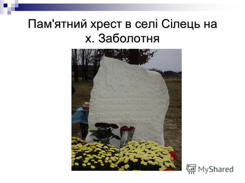 Пам'ятний хрест в селі Сілець на х. Заболотня