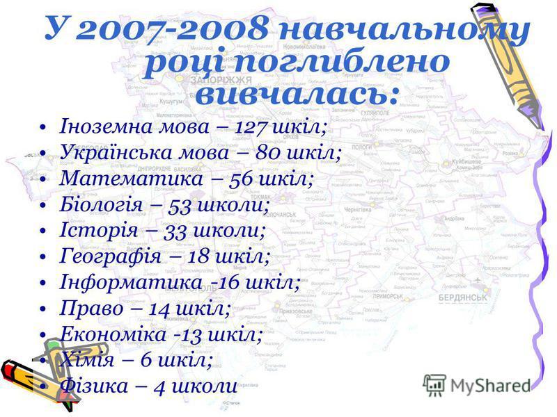 У 2007-2008 навчальному році поглиблено вивчалась: Іноземна мова – 127 шкіл; Українська мова – 80 шкіл; Математика – 56 шкіл; Біологія – 53 школи; Історія – 33 школи; Географія – 18 шкіл; Інформатика -16 шкіл; Право – 14 шкіл; Економіка -13 шкіл; Хім