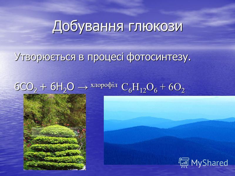 Добування глюкози Утворюється в процесі фотосинтезу. 6СО 2 + 6Н 2 О хлорофіл С 6 Н 12 О 6 + 6О 2