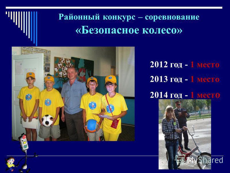 Районный конкурс – соревнование «Безопасное колесо» 2012 год - 1 место 2013 год - 1 место 2014 год - 1 мест о