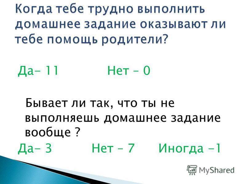 Да- 11 Нет – 0 Бывает ли так, что ты не выполняешь домашнее задание вообще ? Да- 3 Нет – 7 Иногда -1