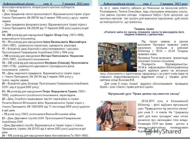 Інформаційний вісник стр. 3 5 травня 2011 року Інформаційний вісник стр. 6 5 травня 2011 року філософа-матеріаліста, літературного критика і публіциста 12 – Трійця. – День працівників легкої промисловості. Відзначається в Україні згідно Указом Презид