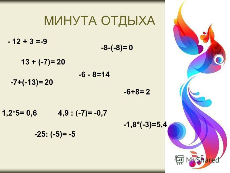 МИНУТА ОТДЫХА - 12 + 3 =-9 13 + (-7)= 20 -7+(-13)= 20 -8-(-8)= 0 -6 - 8=14 -6+8= 2 1,2*5= 0,6 -25: (-5)= -5 4,9 : (-7)= -0,7 -1,8*(-3)=5,4