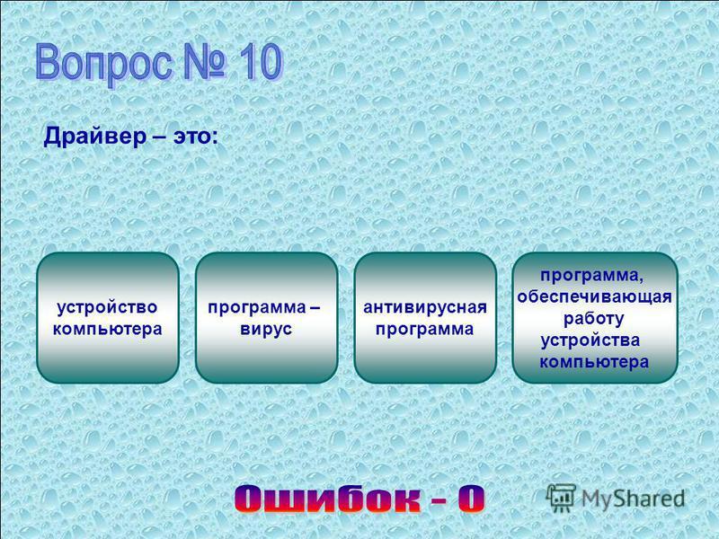 Драйвер – это: устройство компьютера программа – вирус антивирусная программа программа, обеспечивающая работу устройства компьютера