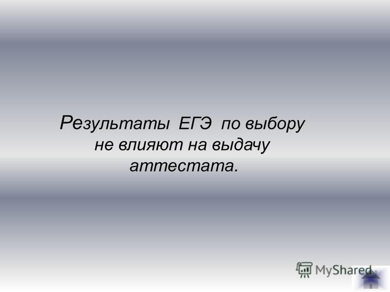 Ре зультаты ЕГЭ по выбору не влияют на выдачу аттестата.