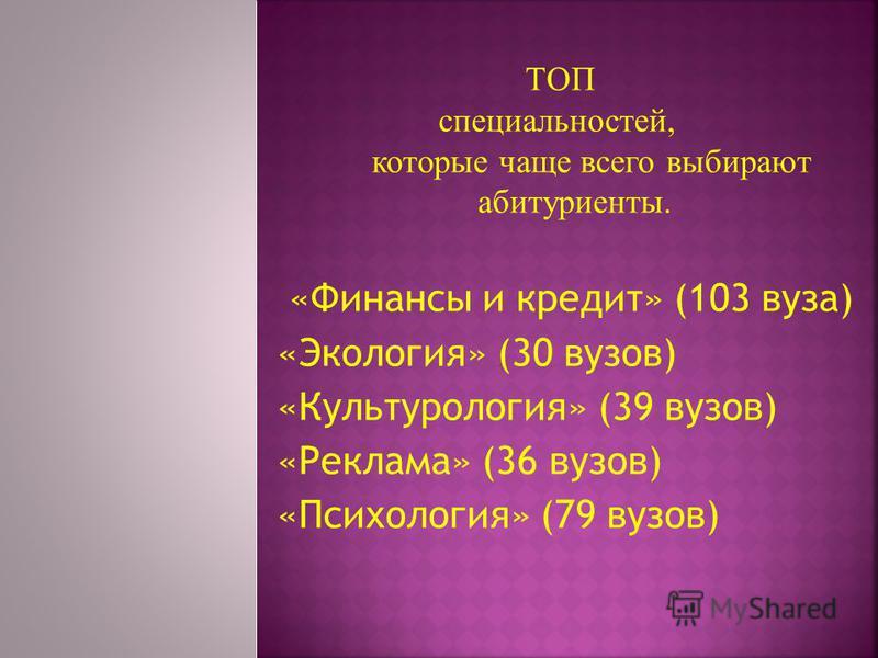 «Финансы и кредит» (103 вуза) «Экология» (30 вузов) «Культурология» (39 вузов) «Реклама» (36 вузов) «Психология» (79 вузов) ТОП специальностей, которые чаще всего выбирают абитуриенты.