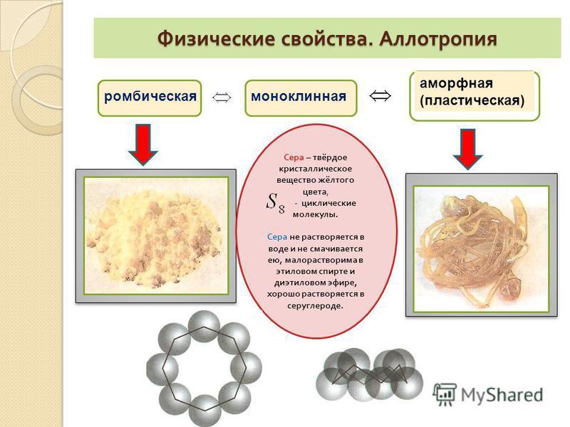 Физические свойства. Аллотропия ромбическая моноклинная аморфная (пластическая) Сера – т вёрдое кристаллическое вещество жёлтого цвета, - циклические молекулы. Сера н е растворяется в воде и н е с смачивается ею, мало растворима в этиловом спирте и д