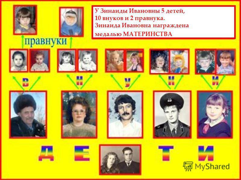 У Зинаиды Ивановны 5 детей, 10 внуков и 2 правнука. Зинаида Ивановна награждена медалью МАТЕРИНСТВА