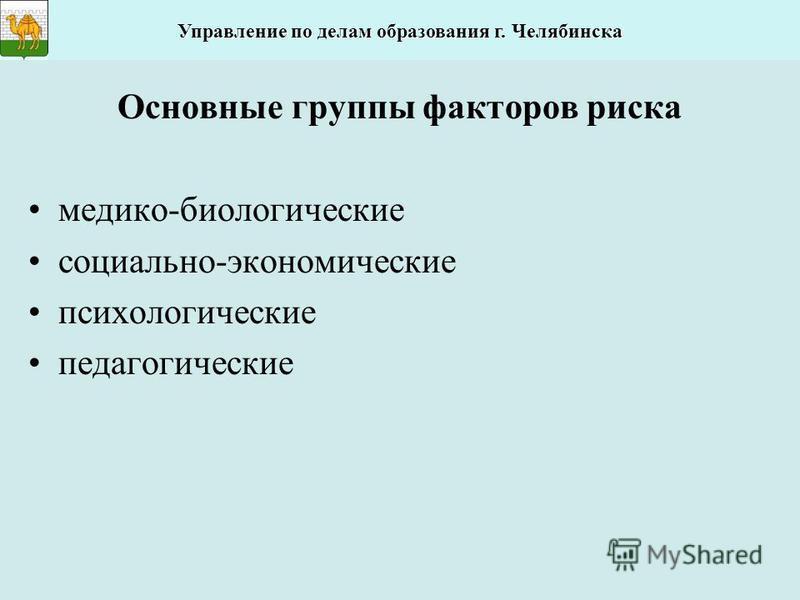 Основные группы факторов риска медико-биологические социально-экономические психологические педагогические Управление по делам образования г. Челябинска