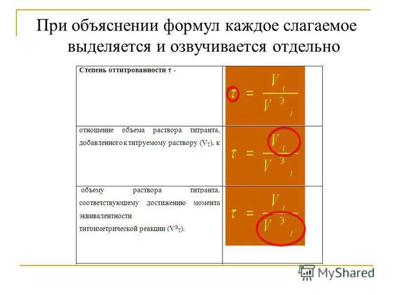 При объяснении формул каждое слагаемое выделяется и озвучивается отдельно