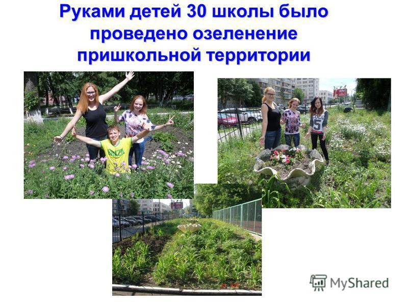 Руками детей 30 школы было проведено озеленение пришкольной территории
