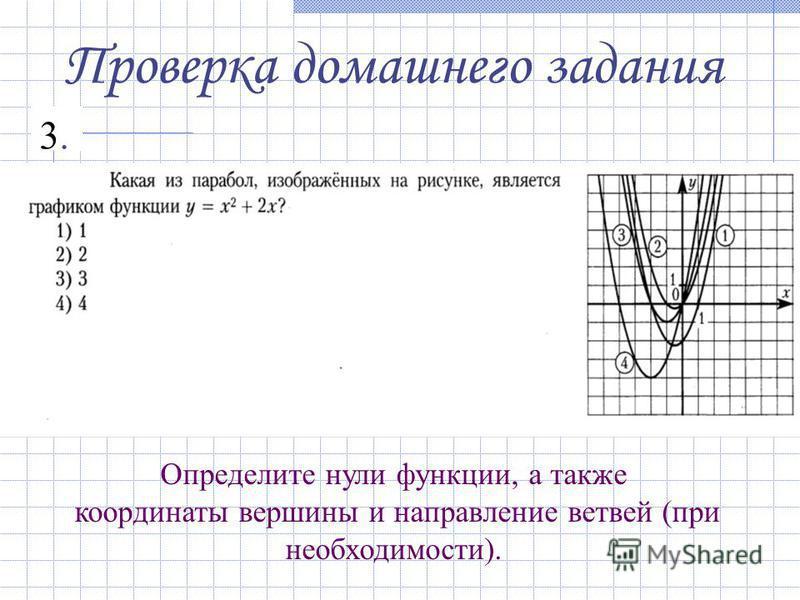 Проверка домашнего задания 3.3. Определите нули функции, а также координаты вершины и направление ветвей (при необходимости).