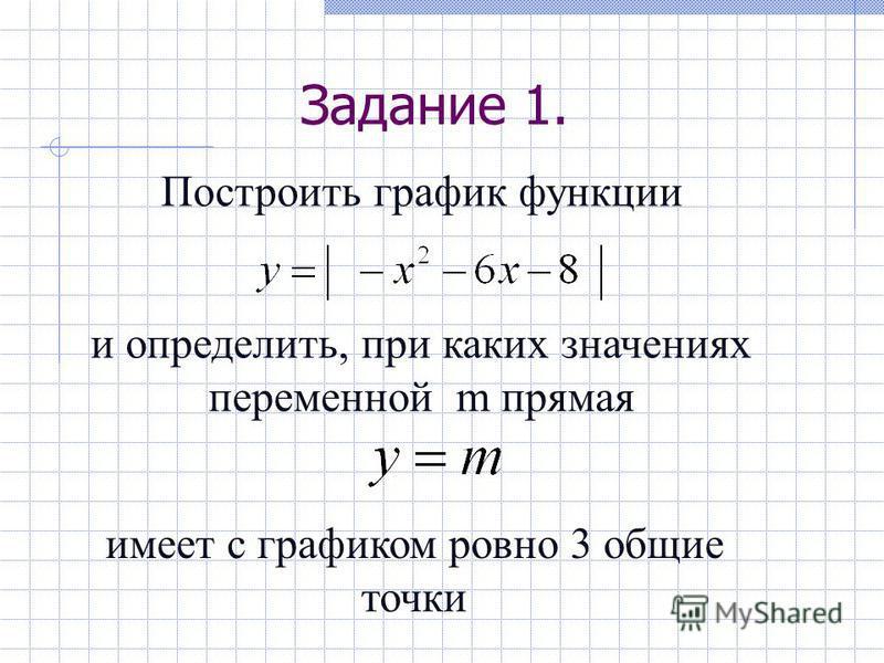 Задание 1. Построить график функции и определить, при каких значениях переменной m прямая имеет с графиком ровно 3 общие точки