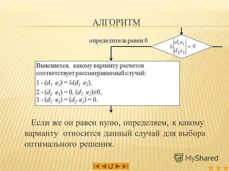 Если же он равен нулю, определяем, к какому варианту относится данный случай для выбора оптимального решения. определитель равен 0 Выясняется, какому варианту расчетов соответствует рассматриваемый случай: 1 - (d 2 e 2 ) = (d 1 e 1 ), 2 - (d 1 e 1 )