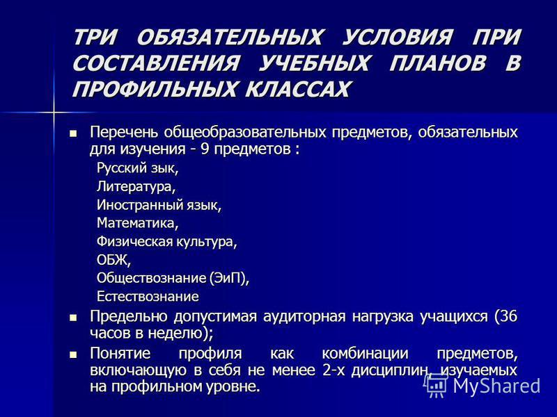ТРИ ОБЯЗАТЕЛЬНЫХ УСЛОВИЯ ПРИ СОСТАВЛЕНИЯ УЧЕБНЫХ ПЛАНОВ В ПРОФИЛЬНЫХ КЛАССАХ Перечень общеобразовательных предметов, обязательных для изучения - 9 предметов : Перечень общеобразовательных предметов, обязательных для изучения - 9 предметов : Русский з