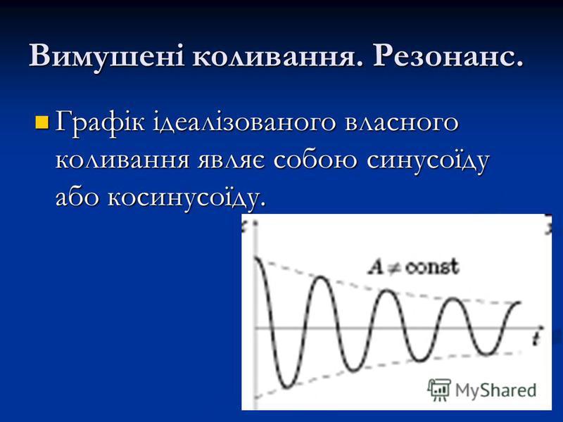 Вимушені коливання. Резонанс. Графік ідеалізованого власного коливання являє собою синусоїду або косинусоїду. Графік ідеалізованого власного коливання являє собою синусоїду або косинусоїду.