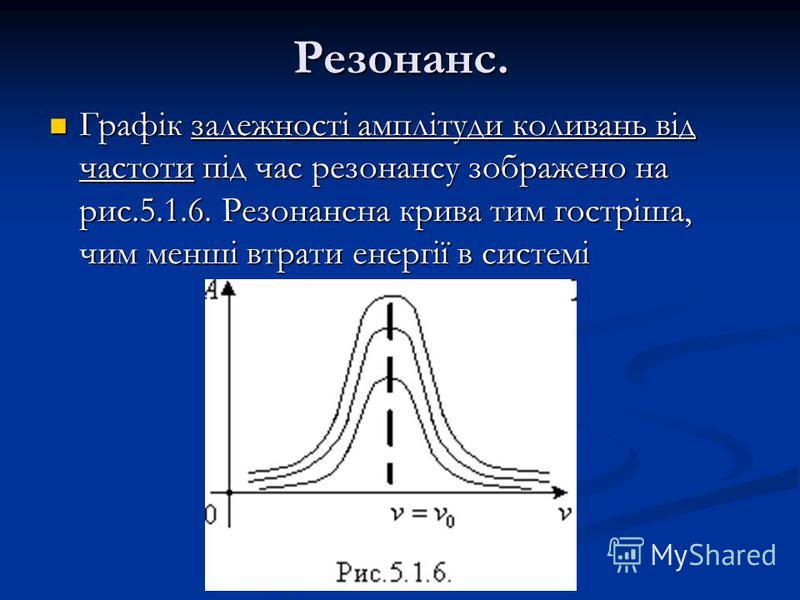 Резонанс. Графік залежності амплітуди коливань від частоти під час резонансу зображено на рис.5.1.6. Резонансна крива тим гостріша, чим менші втрати енергії в системі Графік залежності амплітуди коливань від частоти під час резонансу зображено на рис