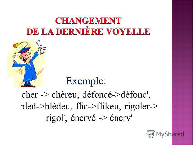 Exemple: cher -> chèreu, défoncé->défonc', bled->blèdeu, flic->flikeu, rigoler-> rigol', énervé -> énerv'