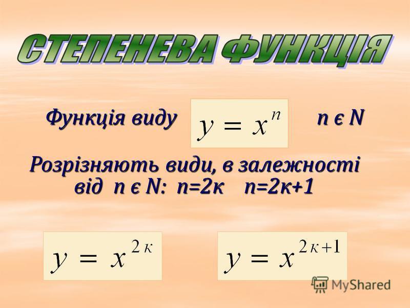 Функція виду n є N Розрізняють види, в залежності від n є N: n=2к n=2к+1