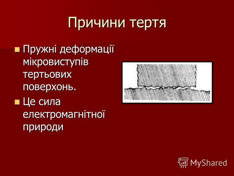 Причини тертя Пружні деформації мікровиступів тертьових поверхонь. Пружні деформації мікровиступів тертьових поверхонь. Це сила електромагнітної природи Це сила електромагнітної природи