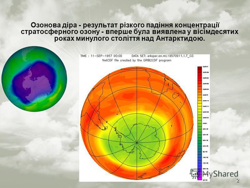 2 Озонова діра - результат різкого падіння концентрації стратосферного озону - вперше була виявлена у вісімдесятих роках минулого століття над Антарктидою.